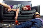 Drunken college friends after a wild house party